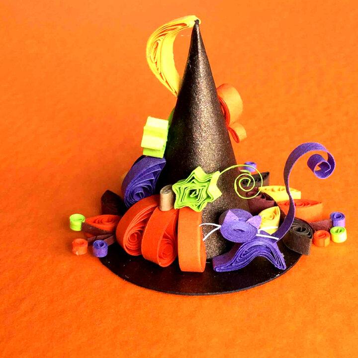クイリングOneday LESSONのご案内【ハロウィン魔女の帽子作り】の画像